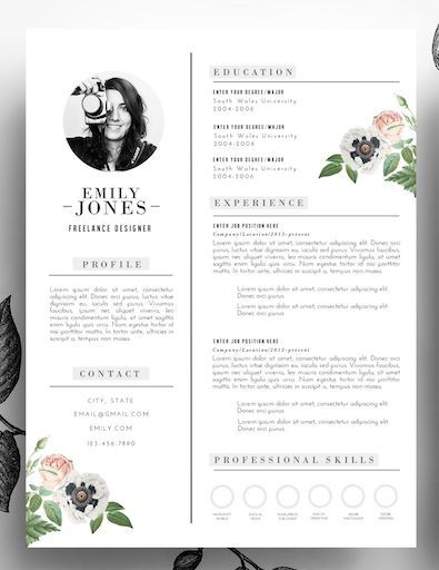 Adorable editable floral 2-page resume template in psd format and - editable resume template
