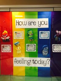 Inside Out bulletin board using plush figures purchased at ...