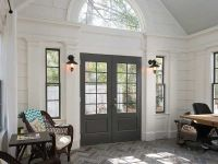 Contemporary Entryway with French doors, Wall sconce, High ...