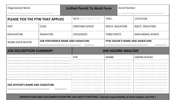Unified Permit To Work Form (Part One of Three) Dr Bassam - blood pressure chartpetroleum engineer job description