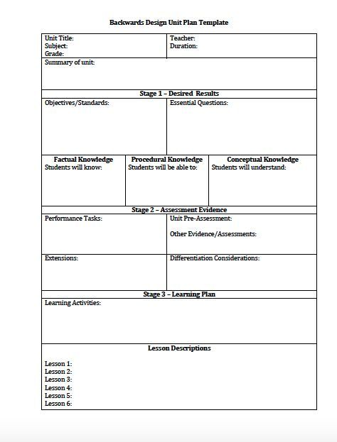 Unit Plan and Lesson Plan Templates for Backwards Planning - lesson plan
