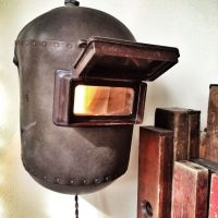 Upcycled welding mask light fixture, steampunk | welding ...