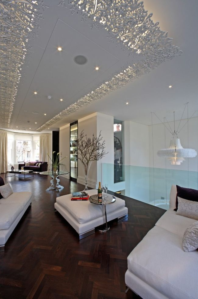 deckengestaltung wohnzimmer paneele weiß zarte muster spitze - muster wohnzimmer