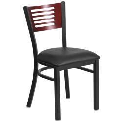 Flash Furniture Metal Restaurant Chair Black Mahogany Foam