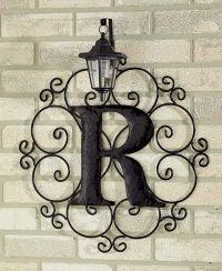 Metal monogram solar light wall art hanging decor ...