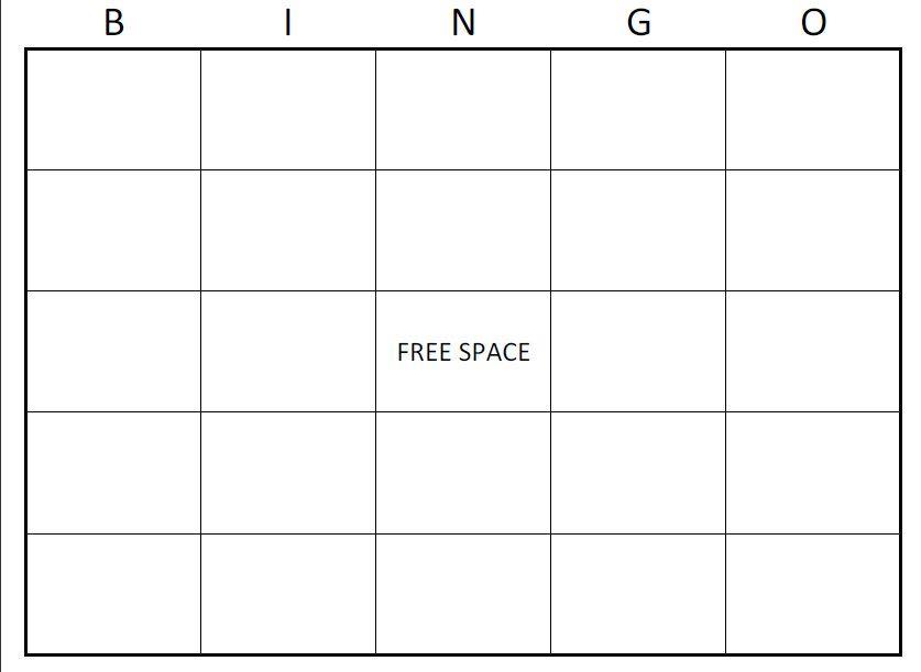 Free Bingo Card Template Large Printable Blank Bingo Cards - blank card template