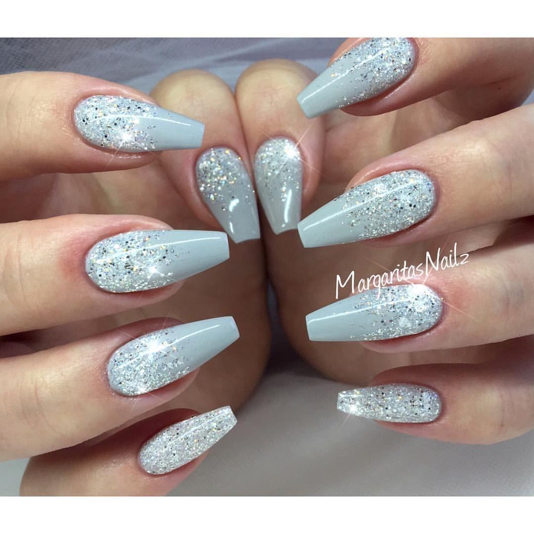 Grey glitter ombr coffin nails stiletto
