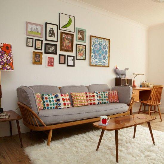 Retro living room with pretty prints Retro living rooms - retro living room furniture