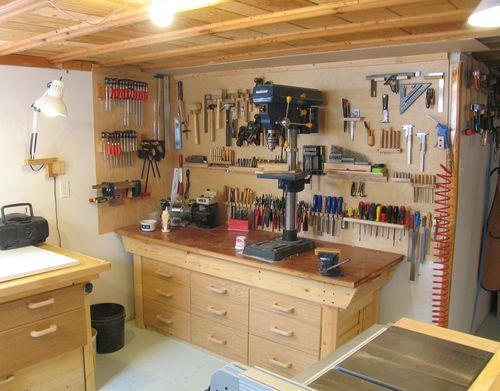 My basement workshop - article on setting up a workshop Learning - home workshop ideas