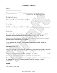 Sample Affidavit of Ownership Form Template | I love ...