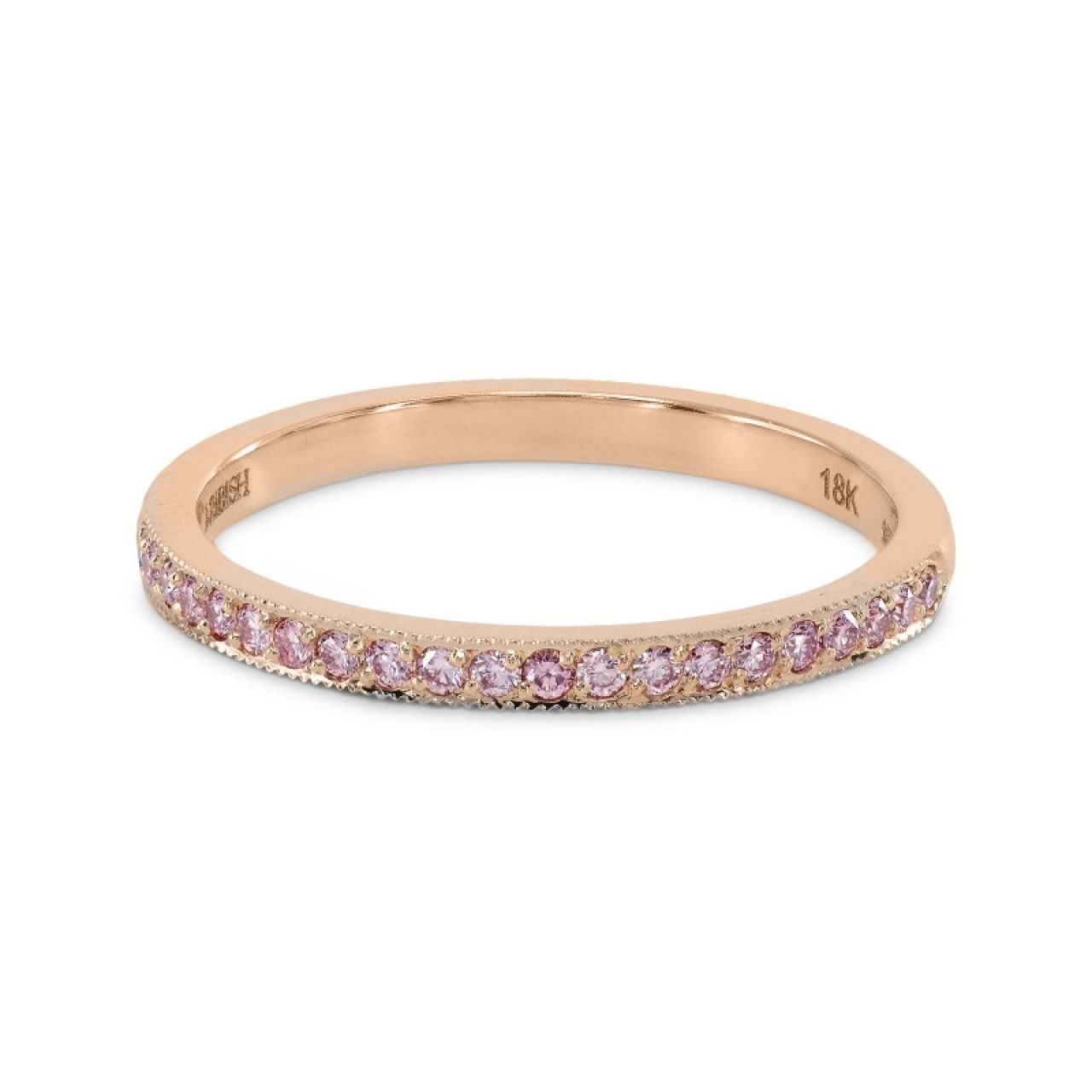 pink diamond wedding band Rose Gold Fancy Pink Diamond Half Eternity Milgrain Wedding Band Ring SKU R 0 25Ct TW