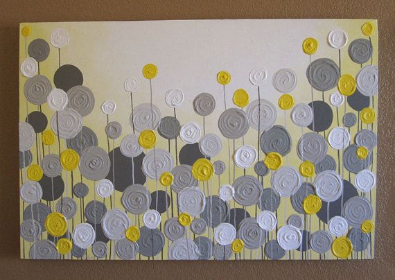 Mustard Yellow and Grey Wall Art, Textured Painting