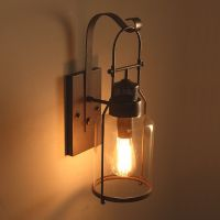 Industrial Loft Rust Metal Lantern Single Wall Sconce with ...
