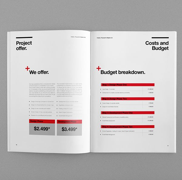 Proposal Template Suisse Design with Invoice by Egotype, via - graphic design proposal template