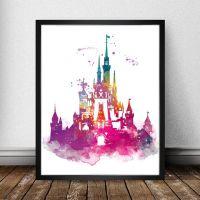 Cinderella Castle Watercolor Print, Magic Kingdom, Disney ...