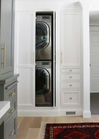 Concealed Stacked Washer and Dryer, Transitional, Laundry ...