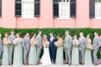 Sage/Mint Bridesmaid Dresses + Groomsmen in Gray with ...