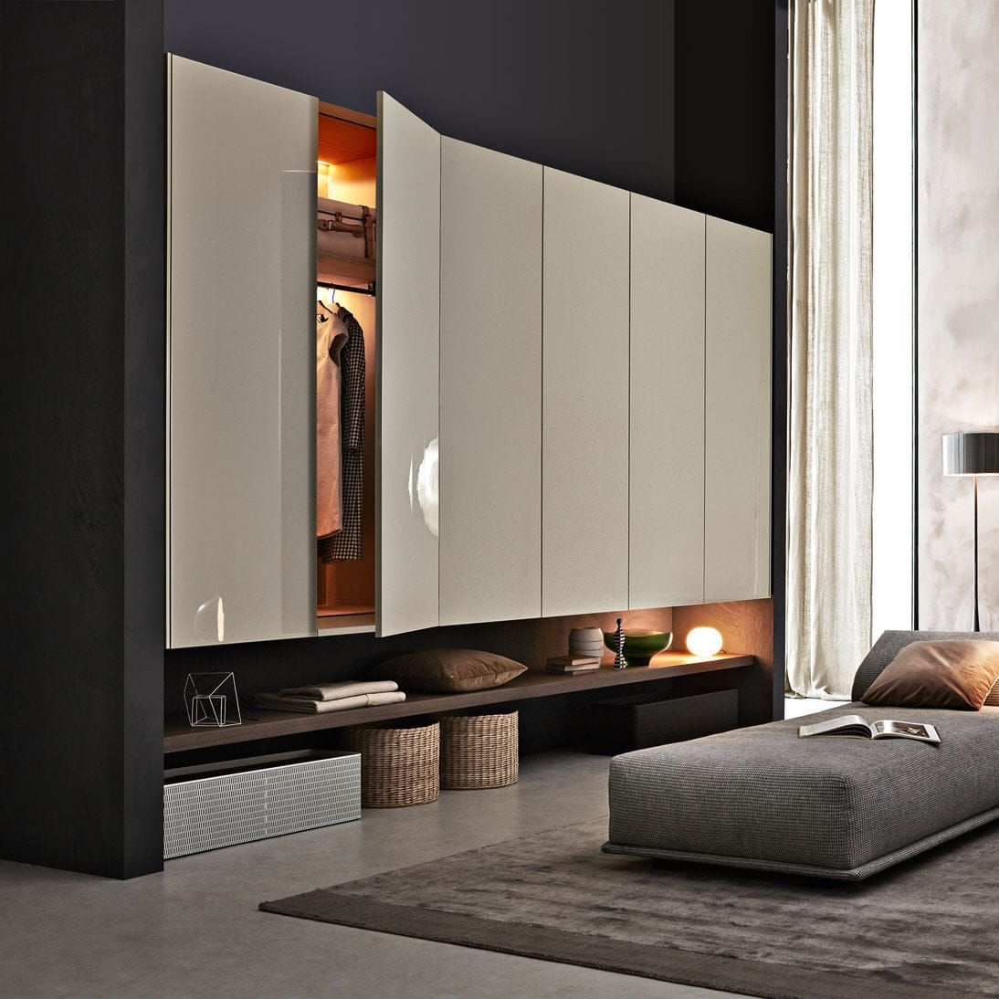 Wall Mounted Walk In Wardrobe Contemporary Wooden