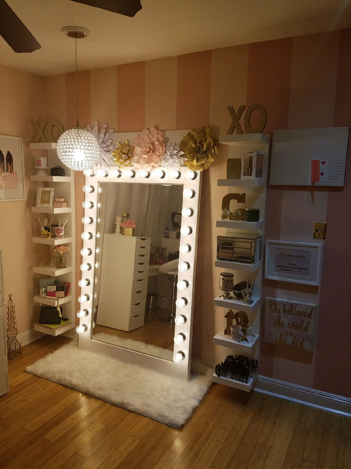 Girl Makeup Station Makeup Storage With Diy Style Hollywood Glam Light My