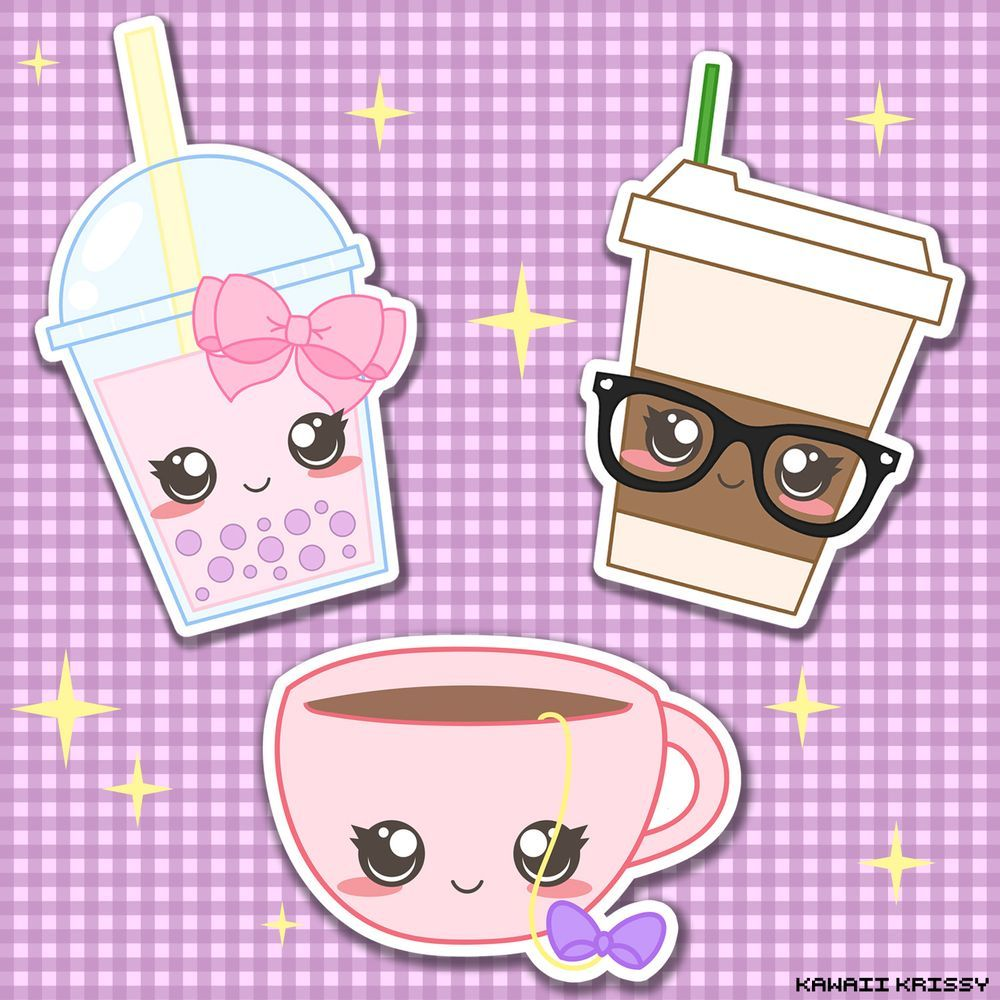 Leinwand Küchenbilder Kawaii Bubble Tea, Cute Chic Coffee, And Cute Tea Cup