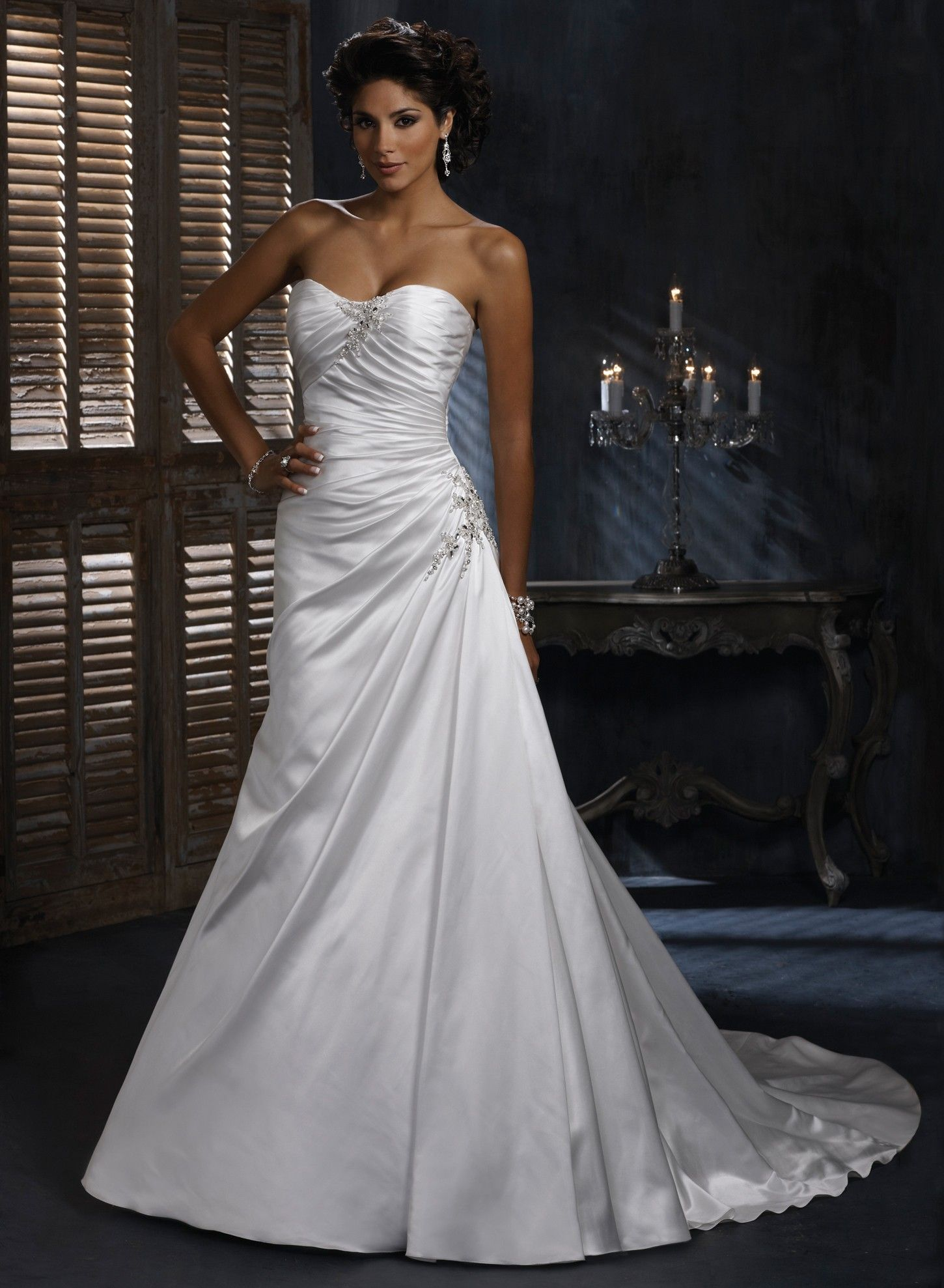 strapless wedding dresses Satin A line Dipped Strapless Neckline Wedding Dress