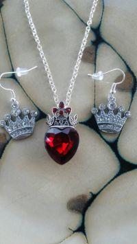Disney Descendants EVIE inspired Necklace Red Heart Crown ...