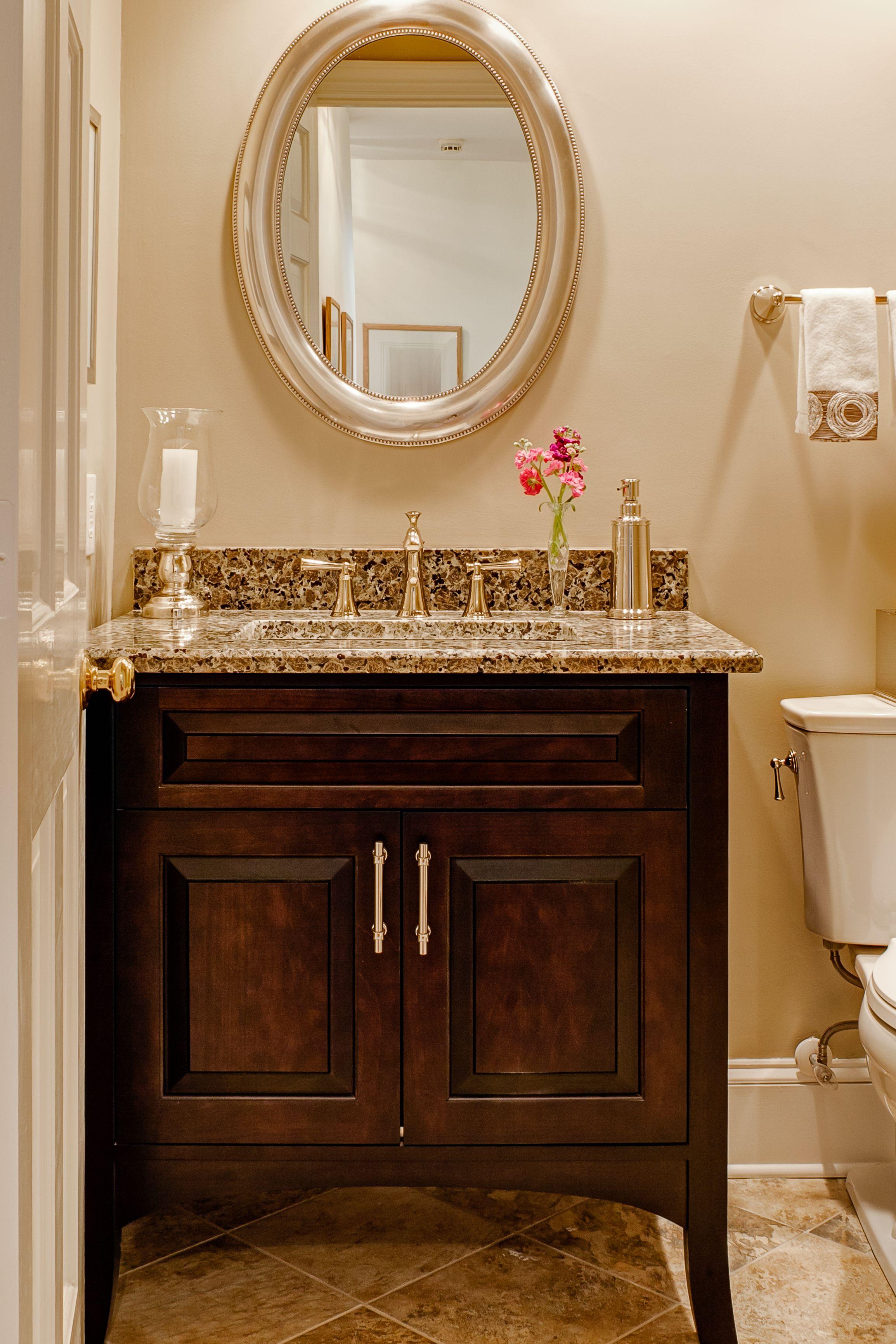 Wonderful 2 Door Powder Room Vanity With Single Sink And