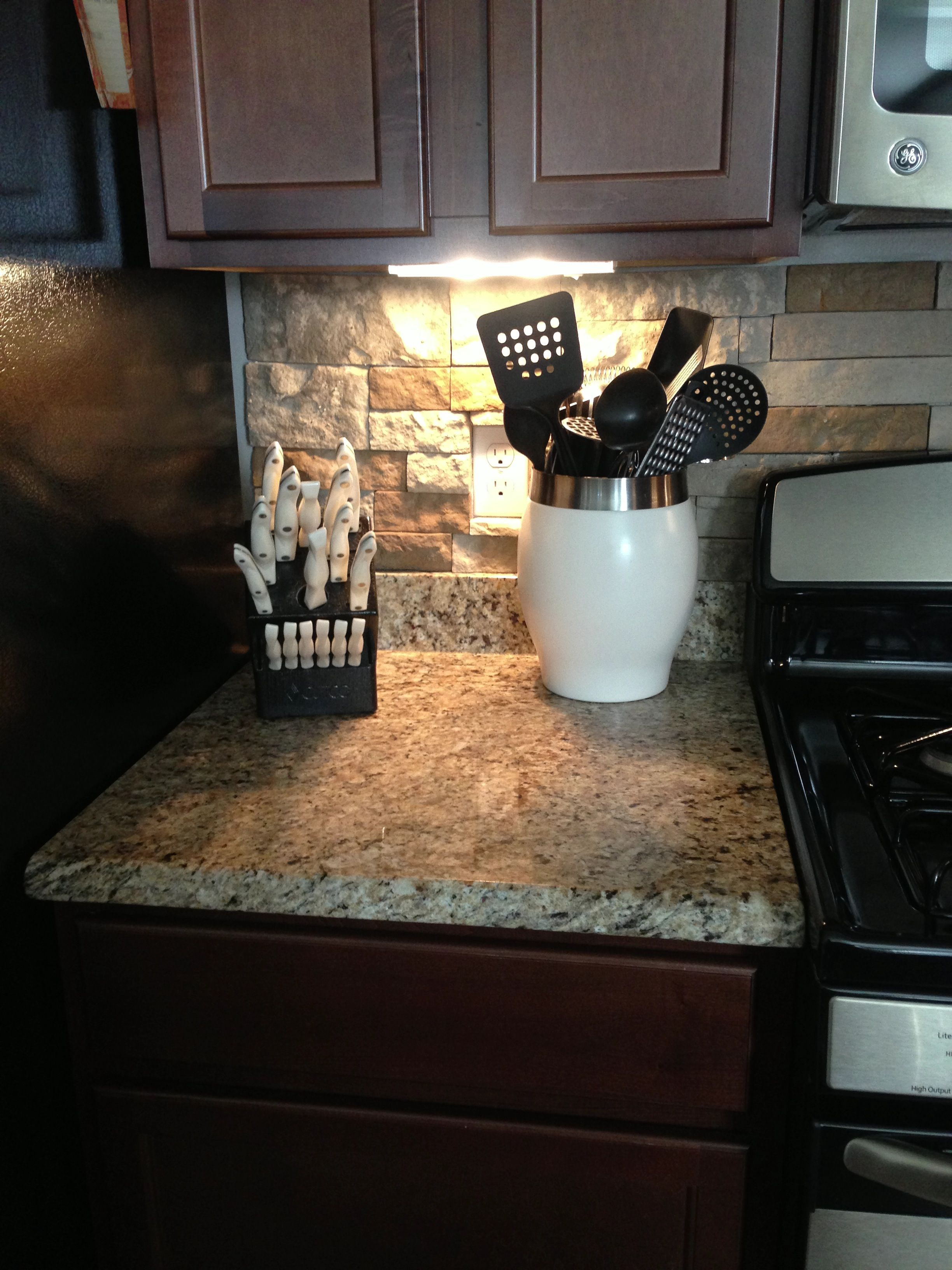 Dark Wood Cabinets In Kitchen Stone Backsplash Granite Countertops Dark Wood Cabinets