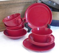 Sold. Vintage Red Melamine Cups, Bowls, Plates, Allied ...