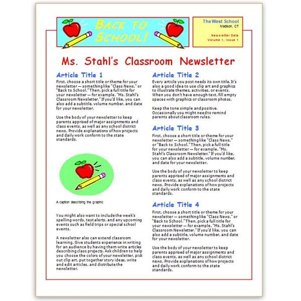 Where to Find Free Church Newsletters Templates for Microsoft Word - school newsletter templates
