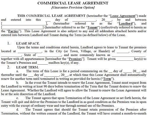 Printable Sample Commercial Lease Agreement Form Real Estate - printable lease agreement sample