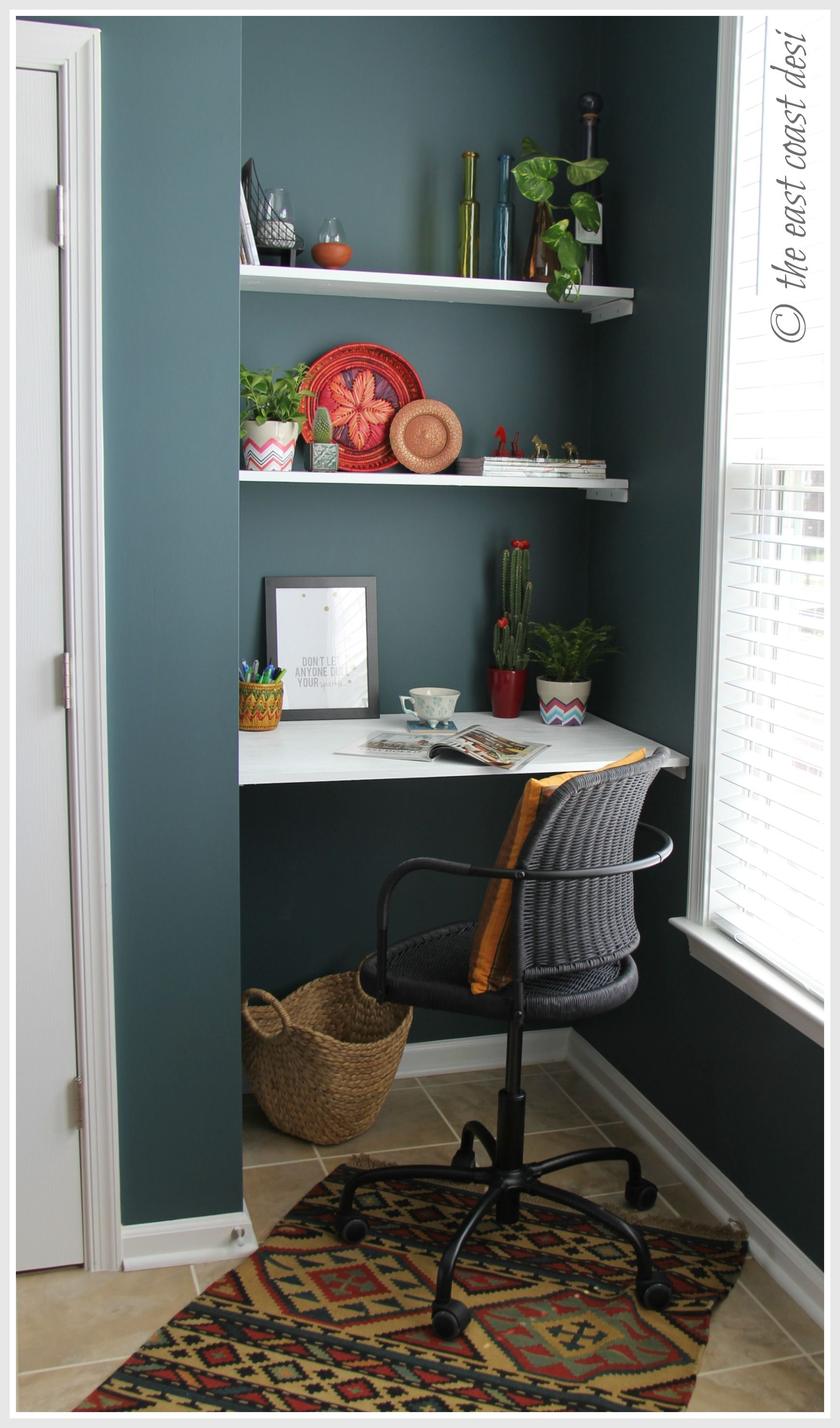 Small Desk Options Niche Converted To A Mini Working Desk Diy Shelves Under