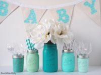 Boy Baby Shower Centerpiece Vase Mason Jars Blue by ...