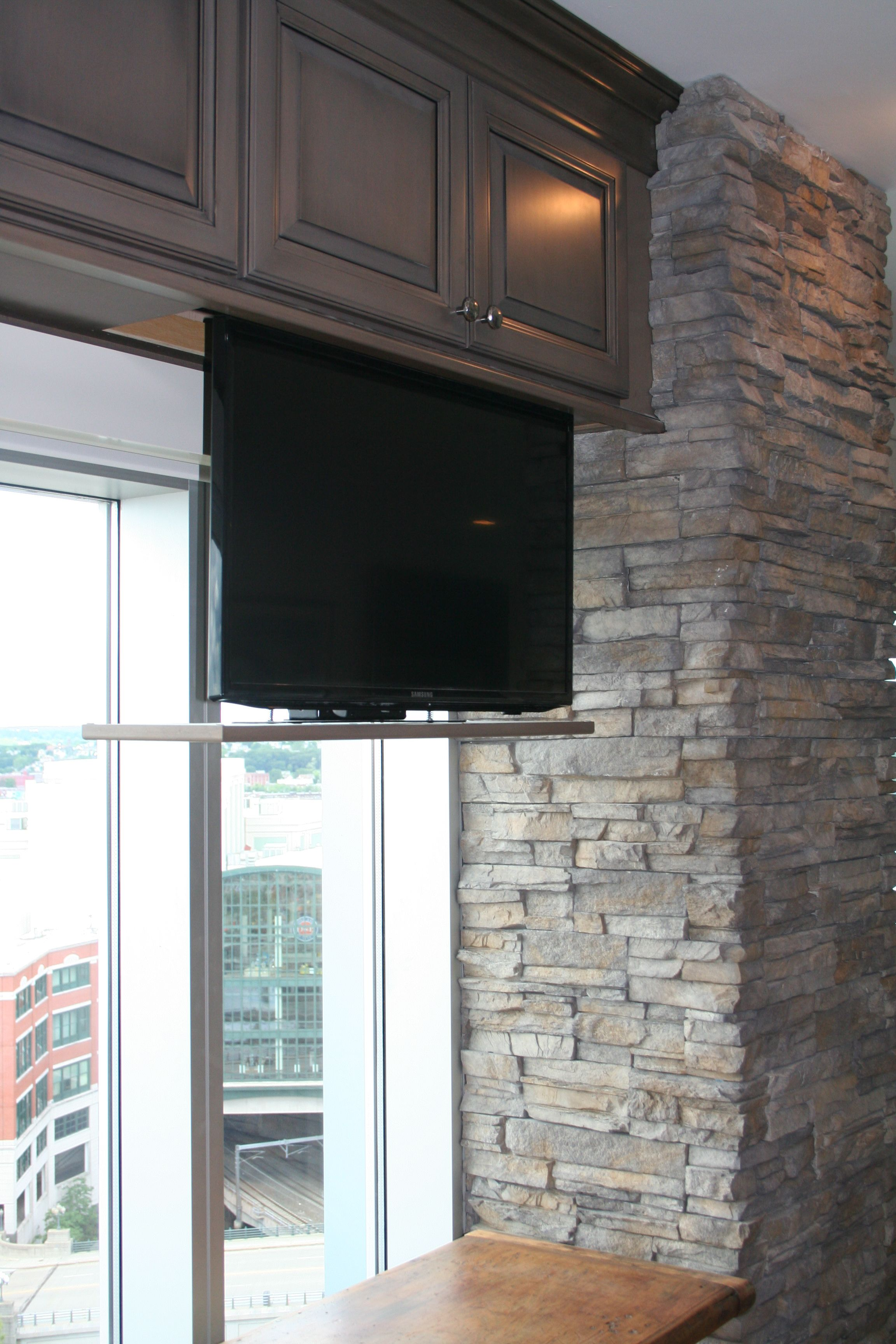 How High To Mount Tv On Wall In Bedroom Hidden Tv In Kitchen Cabinet Rhodeislandkitchen Details