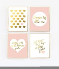 Pink Nursery Art - Blush and Gold Prints - Set of 4 ...