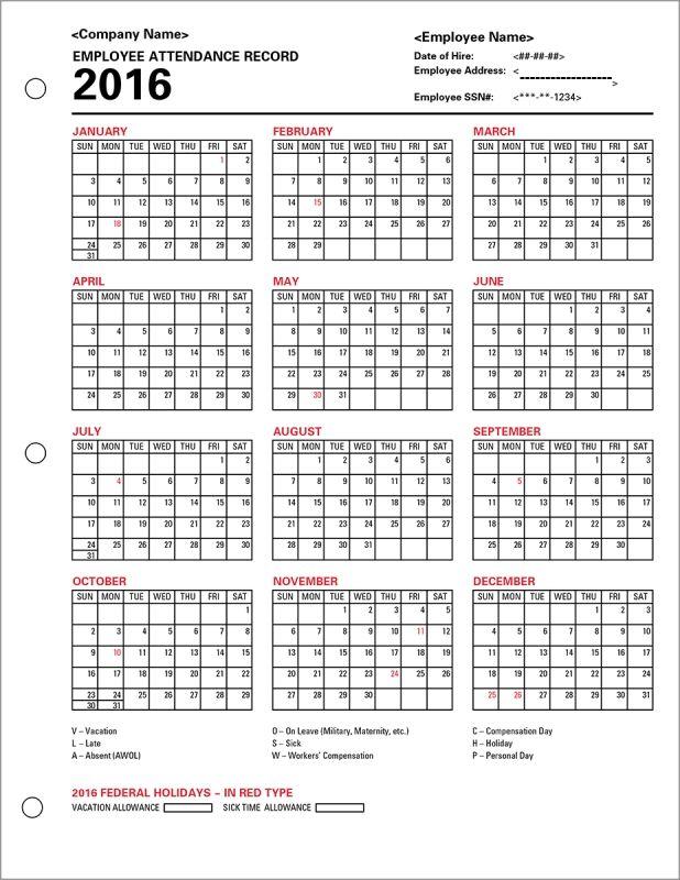 Employee Attendance Calendar Tracker Templates 2016 Printable 89uj - attendance calendar template