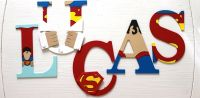 Lucas Superman Wooden Letters, Wall Decor | Wooden ...