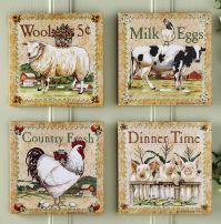 farm animal kitchen decor | Set of 4 Farm Animal Canvas ...