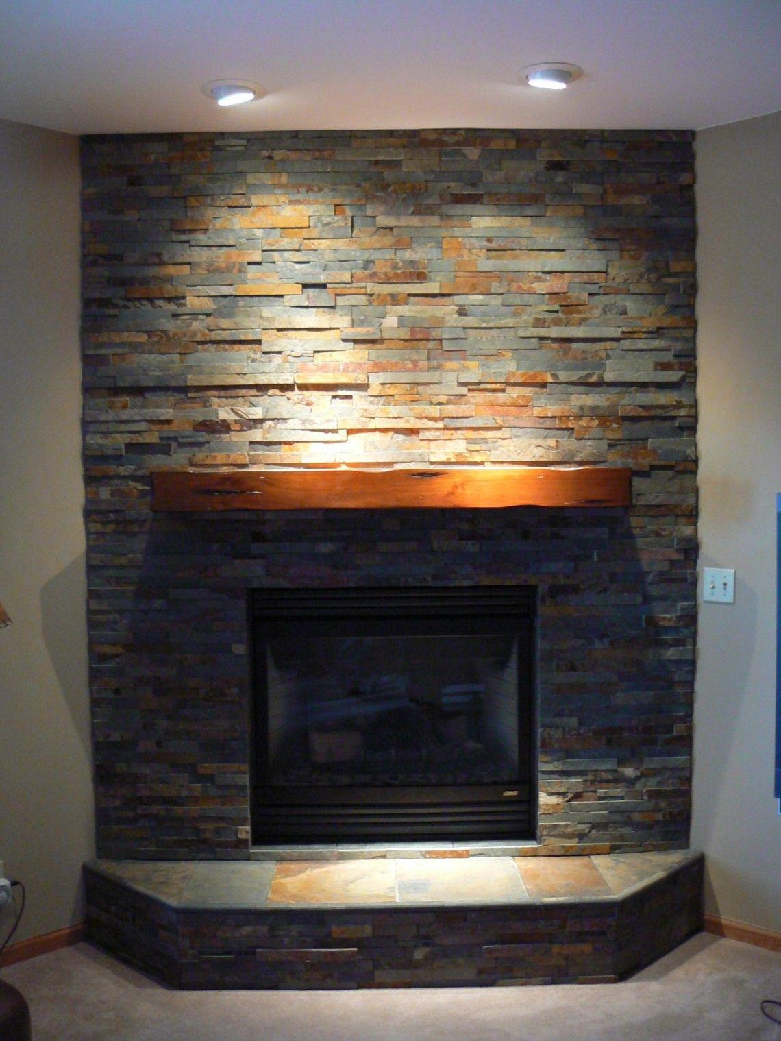 Stacked Stone Corner Fireplace