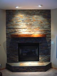 Stacked Stone Corner Fireplace