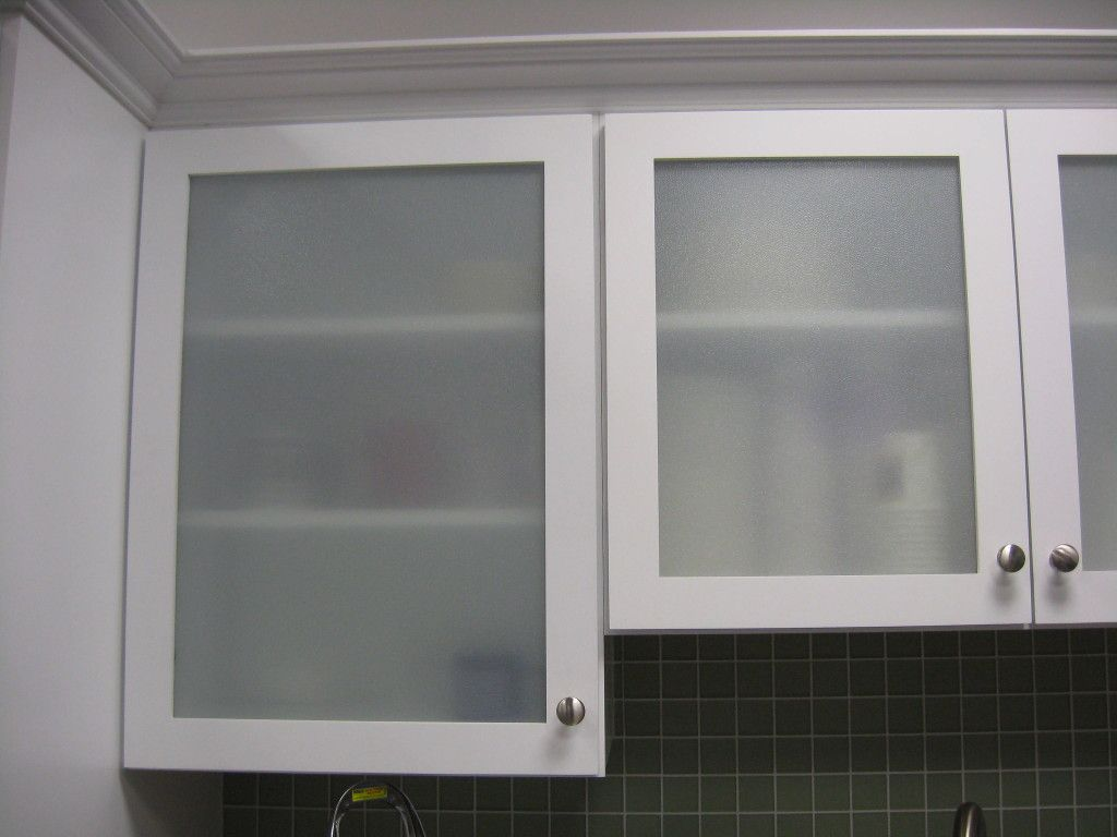 Modern style replace kitchen cabinet door with frosted glass cabinet door and white wooden framing also