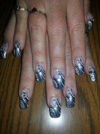 Silver black white rhinestone french tip nail designs art ...