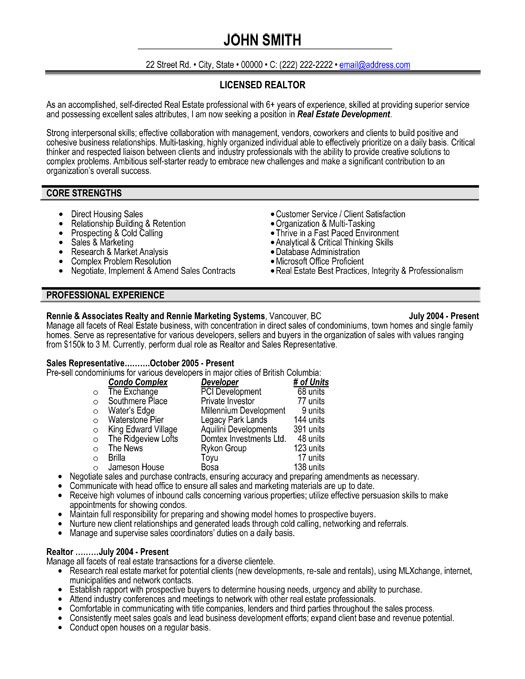 Realtor Resume Sample Real Estate Resume Writing Guide Resume - real estate resume examples