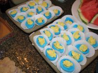 deviled eggs for baby boy baby shower. dyed whites of eggs ...
