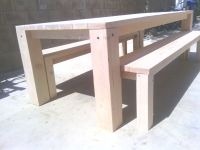 8' table w/ 6x6 legs and 2 benches w/stain $560 - MVS Wood ...