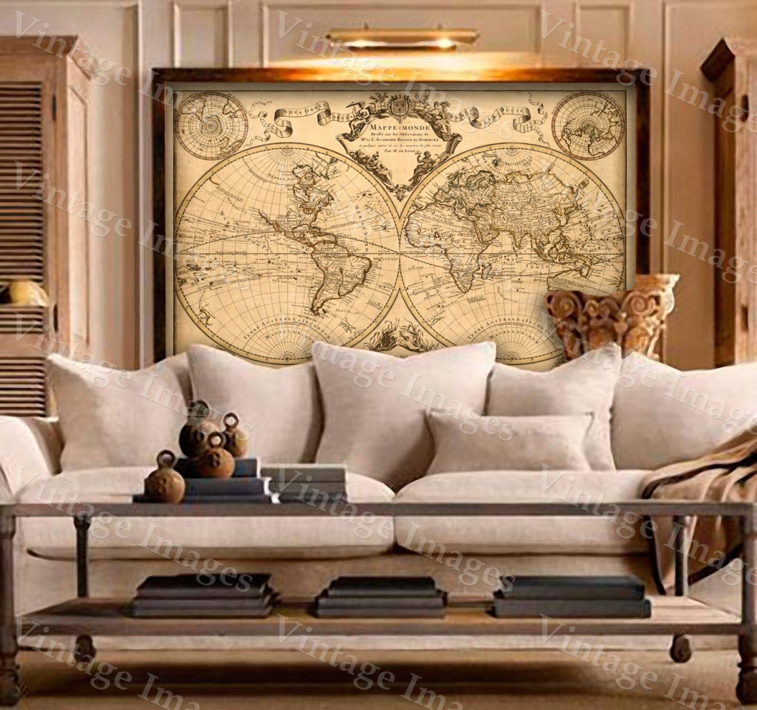 World Home Decor L 39isle 39s 1720 Old World Map Historic Map Antique Style