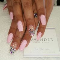 Coffin shaped acrylic nails with gel polish and swarovski ...