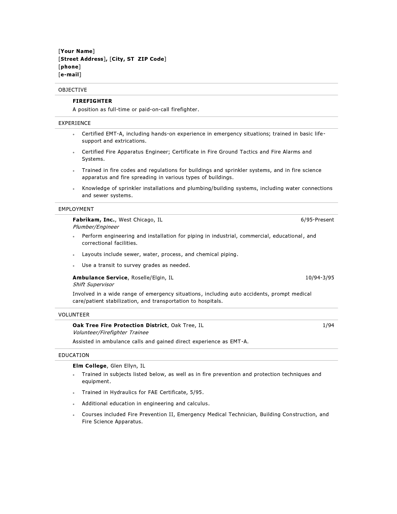 examples of fire fighters resume