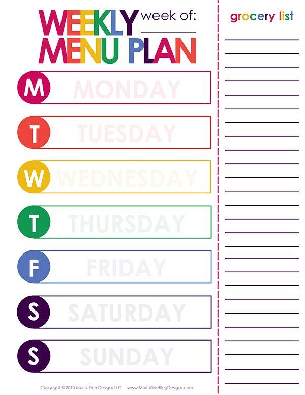 Weekly Dinner Meal Planner Menu planning printable, Weekly menu - weekly menu