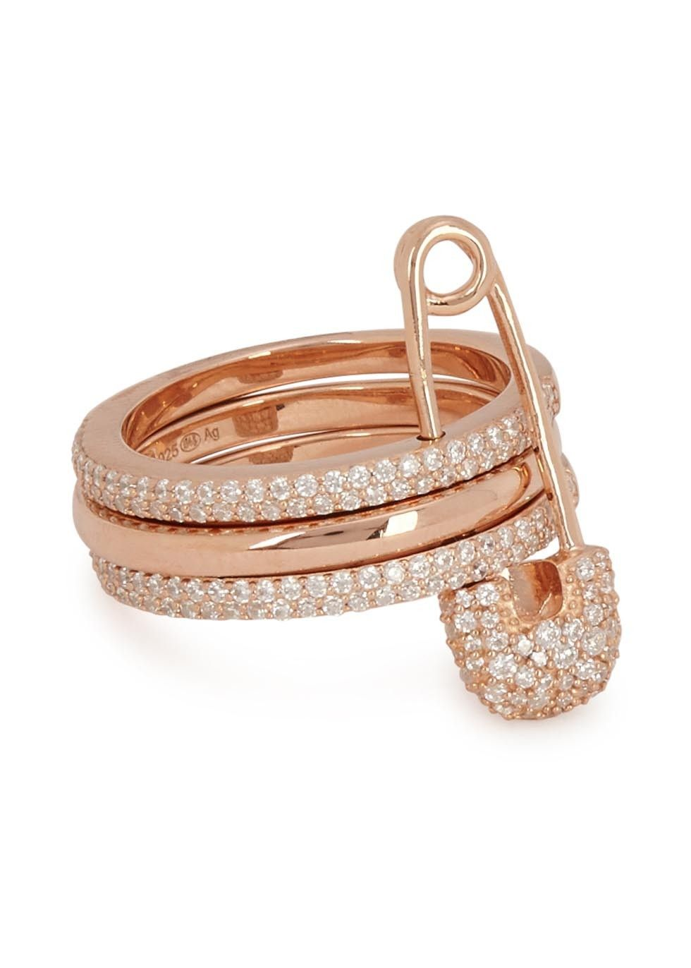 safety wedding rings APM Monaco rose gold plated sterling silver ring Tiered design safety pin and pav